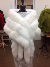 MONROE WHITE FOX GORGEOUS 3 ROW STOLE CAPE WRAP SHRUG FLING TAILS NEW