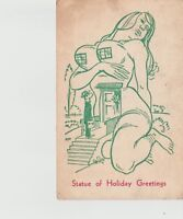 """Antique Postcard Sexy Theme Unposted Vintage """"Statue of Holiday Greetings"""""""