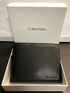 New! Calvin Klein Men's Black Leather Billfold Wallet 7976696 Perfect Gift