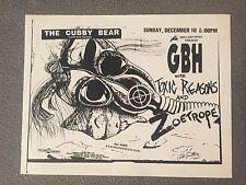 GBH Toxic Reasons Original 1989 Flyer Poster Handbill