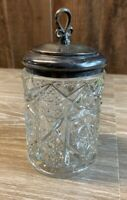 Antique Pressed Glass Humidor Tobacco Jar with Metal Lid