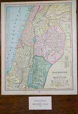 "PALESTINE 1902 Vintage Atlas Map 11""x14"" Old Antique Original BETHLEHEM NAZARETH"