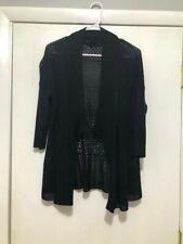 Eileen Fisher Size Medium Cardigan Open Front Sweater Silk Blend Black Gorgeous