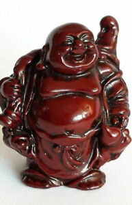 Buddha Statue Figurine Red Dark Resin Figurines Happy Small Vintage Laughing Old