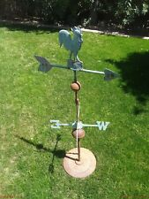 New listing vintage rooster weathervane stand wind direction, copper, bronze, metal,
