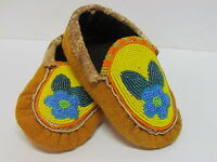 NATIVE AMERICAN FULL BEADED CHILDRENS MOCCASINS 6 INCHES CHEERFUL FLOWER DESIGN