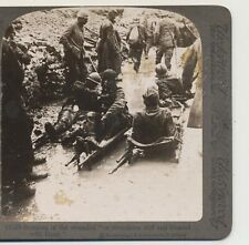 Bringing in the Wounded on Strechers Stiff Bloody WWI Underwood Stereoview c1915
