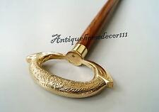 "Nautical Brass Designer Handle Wooden Walking Stick Cane 36"" Gift Vintage Style"