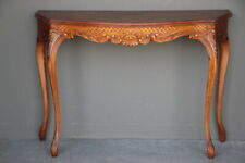Vintage antique walnut rococo console table ornate carved French serpentine