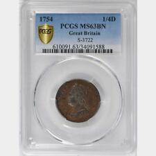 1754 Great Britain 1/4 Penny, Farthing, PCGS MS 63, George II