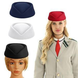Stewardess Air Hostesses Pillbox Top Hat Imitation Wool Felt Cap for Cosplay x1