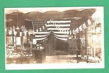 VINTAGE RPPC POSTCARD INTERIOR SINGER SEWING MACHINE BLDG. ELIZABETH, NJ FLAGS