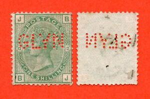 Victoria 1862-83, 1/- Green Plate 12. SG.150. Mint Perfin. Cat £775