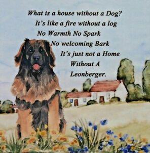 LEONBERGER DOG HARDBOARD PLAQUE TILE WATERCOLOUR PRINT SANDRA COEN ARTIST