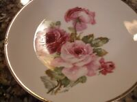 CT Altwasser Plate Hand Painted Pink Rose Roses w/Gold Trim 23177 46 Handpainted