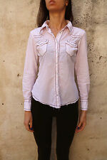 Pepe Jeans Jeans Casual Shirt Pink White Cotton Polka Dots  S Small