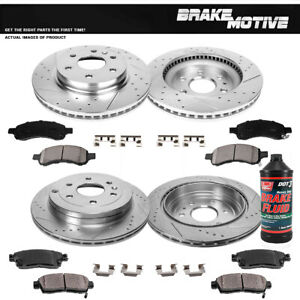 Front+Rear Drill Slot Brake Rotors +Ceramic Pads For Enclave Traverse Outlook