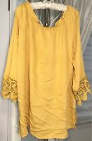 NEW Plus Size 2X Yellow Gold Peasant Blouse Lace Crochet Shirt