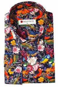 Wolff Blitz Navy Blue Summer Birds Shirt