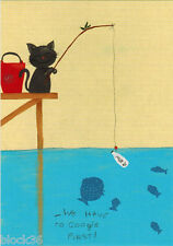 Modern Russian funny postcard CAT IS FISHING BUT FISH USE GOOGLE ON THE BAIT!