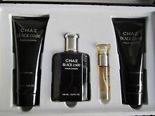 """CHAZ BLACK CODE: 4 PCS/X-L Set : 2 MEN COLOGNES,GEL, BALM,14""""W x 9""""H,Fashion,Hot"""