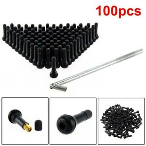 100x TR414 Tubeless Rubber Car Wheel Tyre Valve With Metal Valve Puller Tool UK
