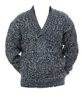 Mens M L XL New Shawl Collar Jumper Warm Wool Acrylic Mix Pullover Blue Grey