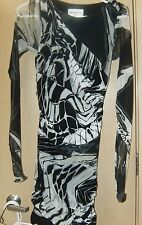 Emilio PuccI Black and White Print Ruched Dress with See thru Sleeves  XS
