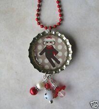 Sockmonkey Necklace Bottlecap Altered Art Charm Sock Monkey Handmade Red Hat