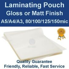 Quality Laminating Pouches Gloss or Matt - A5/A4/A3, 80/100/125/150mic (PK 100)