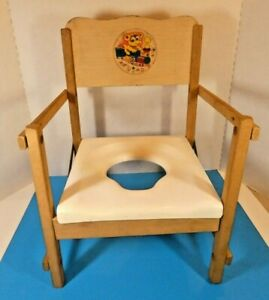 Vintage 50's-60's Childs Wooden Potty Chair Foldable Toilet Teddy Bear Decal