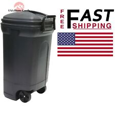 United Solutions Plastic Wheeled Black Outdoor Trash Can Waste Organizer 34 Gal