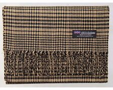 2 PLY MEN 100% Cashmere Scarf Brown Flannel Check Plaid Soft Scotland Wool R50