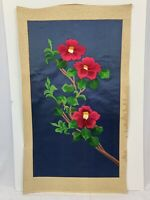 Vintage Silk Asian Oriental Wall Art Textile Embroidery 3 Pink Fuschia Flowers