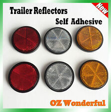 6pc Round Reflectors Red Amber & White Trailer Reflector Truck Self Adhesive