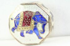 VINTAGE STERLING SILVER ENAMEL ELEPHANT LIDED PILL BOX LID