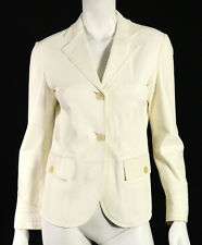 JIL SANDER Ivory Leather Notched Lapel Button-Front Blazer Jacket 38