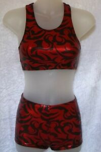RED AZTEC FOIL 3 PIECE  FREESTYLE DANCE SET  -  AGE 7-8 YEARS