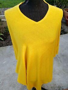 Pure Cashmere Poncho Wrap Sweater cardigans Handmade Nepal poncho V-Neck yellow