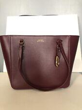 3fed15cb120 New ListingRalph Lauren Bennington Leather Zip Medium Tote Shopper Handbag Bag  Merlot Red