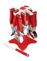 Stainless Steel Cutlery Set, 26-Pieces, Red
