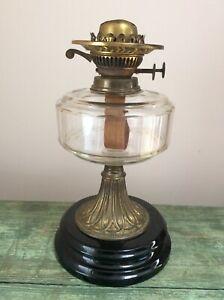 ANTIQUE OIL LAMP CUT GLASS FACETTED FONT DUPLEX BURNER  VERITAS LAMP WORKS BASE