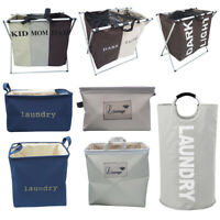 2 Section Folding Laundry Basket Hamper Washing Clothes Collapsible Storage Bag