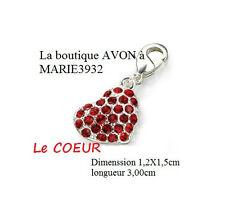 COEUR Rouge CHARM breloque Bracelet argenté AVON NEUF