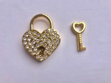 mini heart padlock gold miniature lock with key for wedding card box