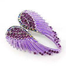 Lovely Purple Angel Wing 5.5cm Long Use Austria Crystal Stretchy Ring