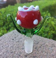 14mm / 18mm Male Glass Slide Bowl Super Mario Piranha Flower Plant Eater Bowl