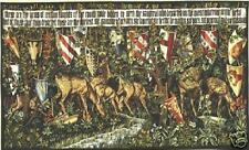 "Medieval Knight  Tapestry Verdure With Shields & Deer 58""x36"""