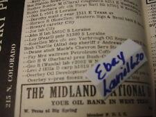 1953 MIDLAND TEX PHONE BOOK GEORGE BARBARA BUSH BOYHOOD HOME PRES OVERBEY OIL CO