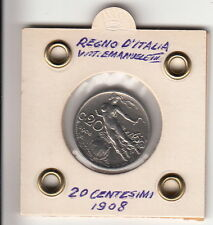C. 20 REGNO D'ITALIA ANNO 1908 DONNA IN VOLO DISCRETA CONSERVAZIONE SIGILLATA